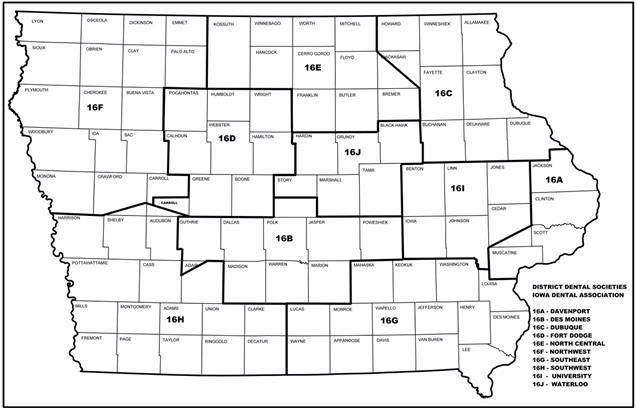 Iowa District Dental Societies Map